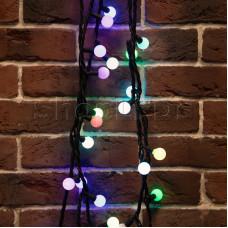 Гирлянда Мультишарики 23 мм, 10 м, черный каучук, 80 LED, свечение с динамикой, цвет RGB